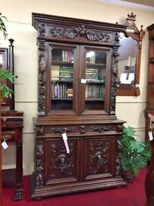 Antique French Hunt Cabinet Hand Carved Oak Delivery Available