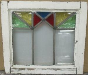 Old English Leaded Stained Glass Window Colorful Geometric Design 17 25 X 15 5