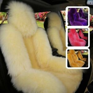 100 Natural Fur Front Car Seat Cover Sheepskin Winter Warm Seat Universal Size