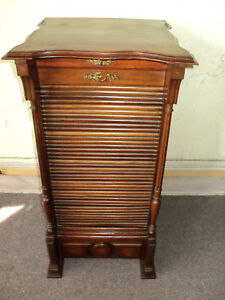 Antique Victorian Mahogany Tambour Door Sheet Music Cabinet