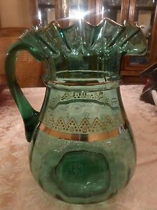 Victorian Ruffled Edge Green Glass Pitcher Gold Trim Enamel Decorated Fenton