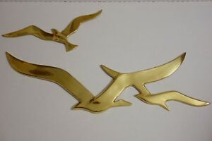 2 Pc Vintage Brass Seagull Wall Art Sculpture Hanging Mid Century Flying Birds