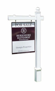 Hampton White Vinyl Real Estate Yard Sign Post With Easy Installation Stake