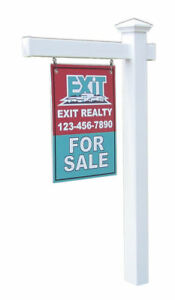 Nantucket White Vinyl Real Estate Yard Sign Post With Easy Installation Stake