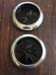 Frank M Whiting Sterling Silver Rimmed Coaster With Black Glass