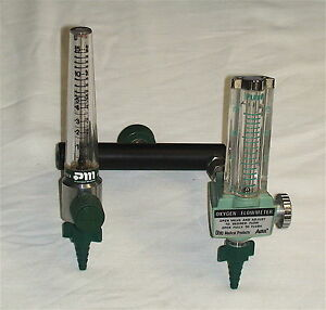 2 Medical Oxygen Flow Meters With Connecting Yoke Ohio Med Precision Med