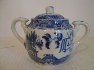 Vintage Blue Willow Handled Sugar Bowl With Lid