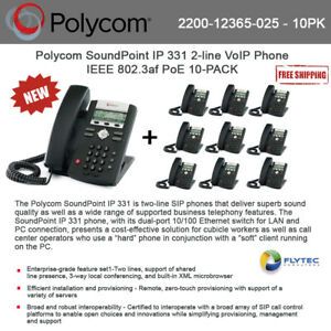 Polycom Soundpoint Ip 331 2 line Voip Phone Ieee 802 3af Poe 10 pack