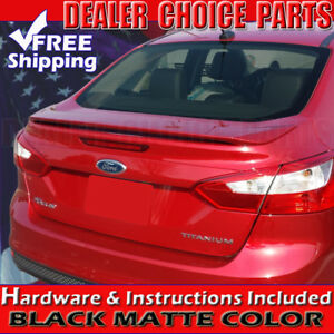 2012 2013 2014 2015 Ford Focus 4d Matte Black Factory Style Spoiler Trunk Wing