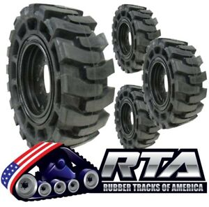 Set Of 4 Solid Skid Steer Tires Fits Case 8 Lug Flat Proof 10x16 5 Free Shipping