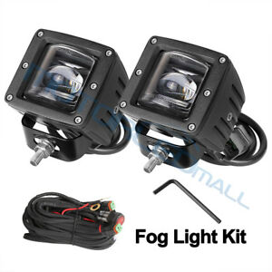 2x Led Cube Fog Lights Kit 3 Inch 48w Driving Lamps Offroad Boat Suv Ute Dot Sae