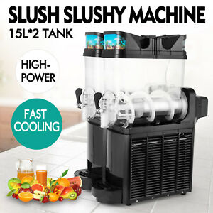 Commercial 2 Tank 30l Frozen Drink Slush Slushy Make Machine Smoothie Maker Ice