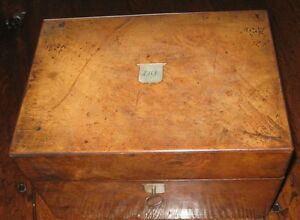 An Original Victorian Wooden Ladies Sewing Box With Secret Draw Circa 1840