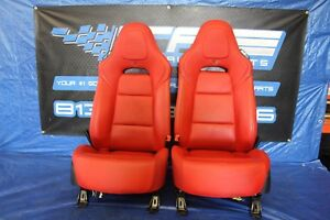 2015 2017 Corvette Z06 Lt4 C7 Oem Factory Red Leather Lh Rh Front Seat Pair Assy