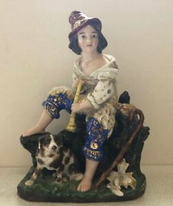 Antique Russian Porcelain Figurine Boy With Flute By Kornilov Bros 1820 1840