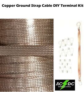 25 Copper Ground Strap Cable Kit Diy Terminal Kit 3 8 Flat Braid Wire
