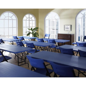 Conference Table And Chair Set Blue Molded Plastic Metal Frame Office Classroom