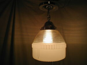 Antique Art Deco 30s Industrial Pendant Ceiling Glass Shade Chrome Light Fixture