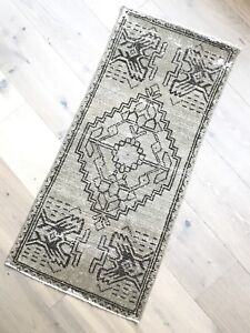 One Of A Kind Vintage Turkish Rug Runner Dimensions 39 X 18