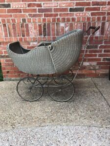 Vintage Antique Wicker Baby Carriage Stroller With Adjustable Canopy