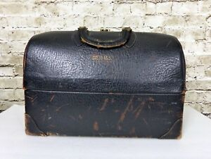 Antique 1940s Doctor Medical Bag Satchel Black Cowhide Leather Emdee By Schell