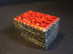 Chinese Carved Jade Cinnabar Silver Plated Pill Box Trinket Antique Post 1940