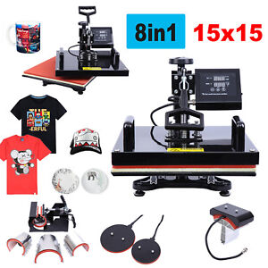 15 x15 8 In 1 Heat Press Machine Combo Sublimation Swing Away For T shirts Hat