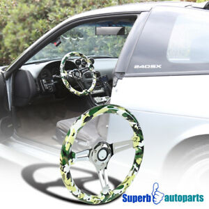 2 Deep Dish 350mm 3 Spoke Sport Racing Wooden Steering Wheel Green Camo Army