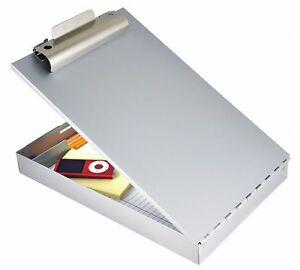 Letter size Portable Storage Clipboard With Standard Clip Aluminum Silver