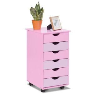 6 drawer Wooden Rolling Organizer Mobile File Cabinet Storage Furniture Pink Us
