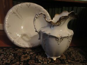 Victorian Semi Vitreous Porcelain K T K Pitcher Basin Bowl Lg Vintage Antique
