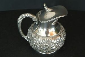 Antique Silver Plated Reed Barton 268 Raised Floral Creamer