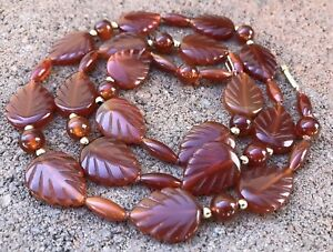 Fine Old Chinese 14k Yellow Gold Carved Carnelian Leaf Necklace 26 5