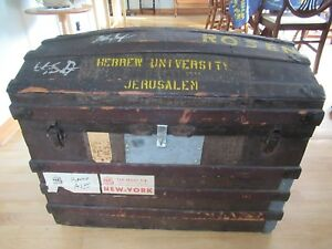 Vintage Wood Dome Top Steamer Trunk Chest