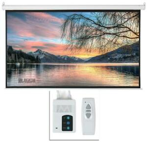Leadzm 92 16 9 Hd Foldable Electric Motorized Projector Screen Remote White