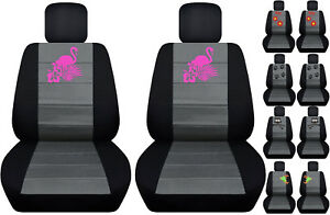 Fits Ford Fiesta Front Car Seat Cover Black charcoal W frog cat owl dragonfly