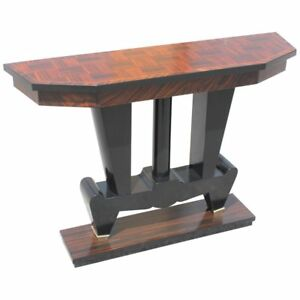 Unique French Art Deco Exotic Macassar Ebony Console Tables Circa 1940s