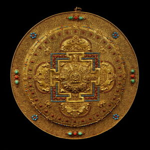 14 China Antique Tibet Copper Gilt Mandala Wire Inlay Turquoise Plate Pendant