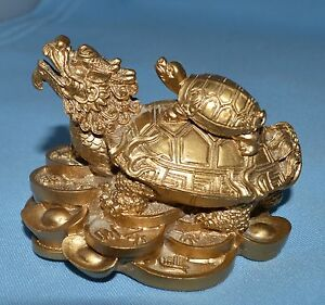 Chinese Feng Shui Statue Gold In Color Dragon Turtle