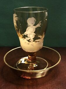 Antique Vintage Hand Painted Amber Mary Gregory Glass Cup And Saucer