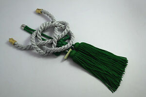 2pcs Chinese Lucky Tie Green Jp Kiku Knot Silvery Kin Rope For Car Rearview