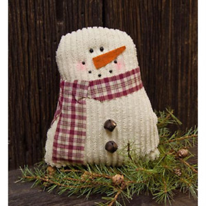 Primitive Tea Stained Snowman Doll Country Chenille Farmhouse Christmas Fabric