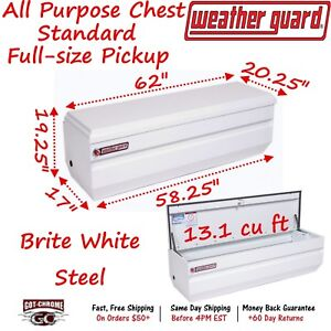 665 3 01 Weather Guard White Steel Full Size Chest Box 62 Truck Toolbox