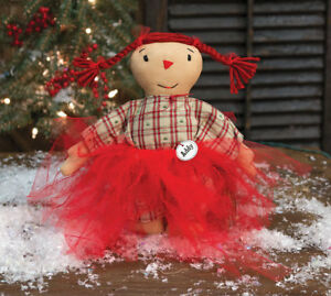 Country Addy Tulle Doll Rustic Primitive Farmhouse Christmas Winter Fabric Cloth