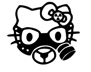 Hello Kitty Gas Mask Vinyl Decal Zombie Car Window Sticker Suv Truck Funny