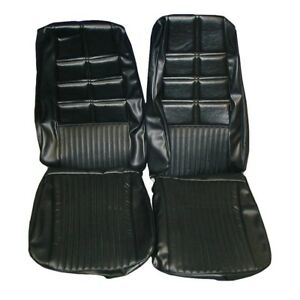 1970 Ford Mustang Deluxe Black Front Bucket Seat Covers 068783
