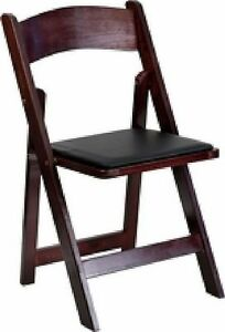 lot Of 10 New Mahogany Stain Wood Folding Chair With Black Vinyl Padded Seat