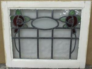 Old English Leaded Stained Glass Window Pretty Double Floral Design 20 5 X 17