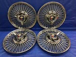 Vintage Set Of 4 1963 64 Ford 14 Spoke Spinner Hubcaps Falcon Galaxie Mustang