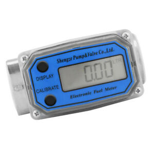 Lcd Turbine Digital Fuel Flow Meter Anti corrosion Diesel Oil Blue Llw 25